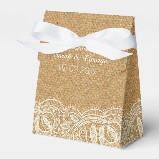 Lace and Burlap Wedding Favour Boxes