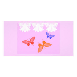 Lace and Butterflies Photo Card Template