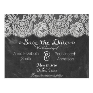 Lace and chalkboard Save the Date Postcard