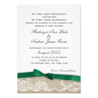 Lace and Emerald Green Bow Wedding 13 Cm X 18 Cm Invitation Card