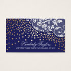 Lace and Gold Confetti Navy Vintage Business Card