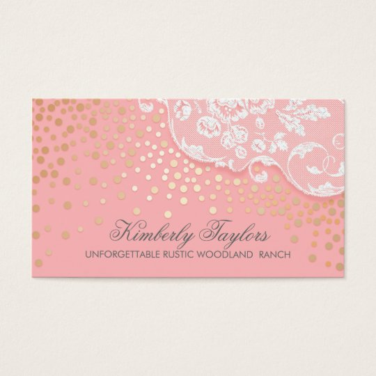 Lace and Gold Confetti Pink Vintage Elegant Business Card