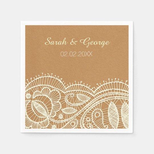 Lace and Kraft Paper Wedding Disposable Serviettes