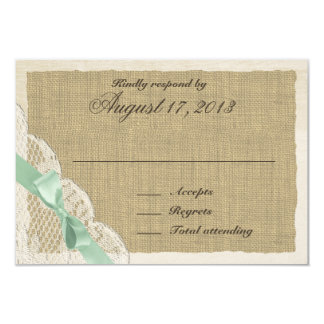 Lace and Mint Green Bow Country Response Card