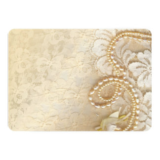 """Lace and Pearl Needlework 5"""" X 7"""" Invitation Card"""