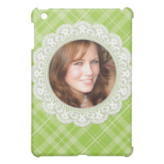Lace and Plaid -butterfly on green- iPad Mini Cover