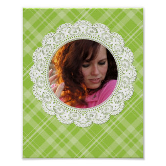 Lace and Plaid -butterfly on green- Posters