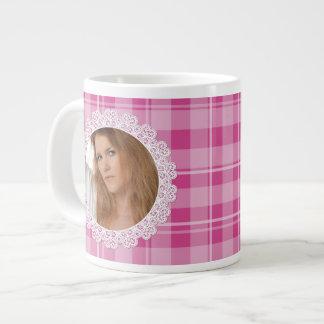 Lace and Plaid -Heart on Pink- Jumbo Mug
