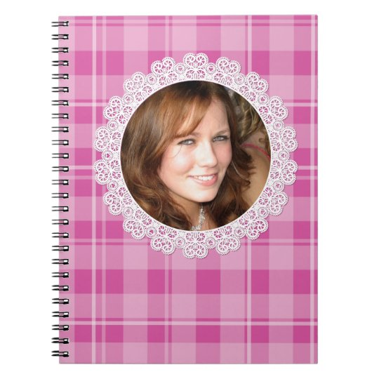 Lace and Plaid -Heart on Pink- Notebook