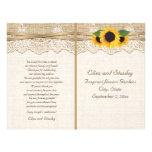 Lace and sunflowers burlap floral wedding program 21.5 cm x 28 cm flyer