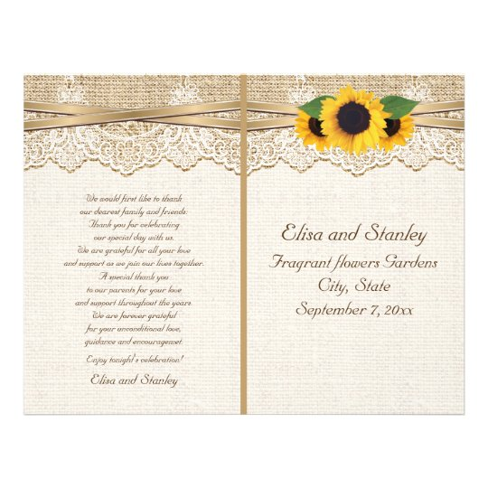 Lace and sunflowers burlap floral wedding program flyer