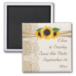 Lace and sunflowers burlap wedding Save the Date Square Magnet