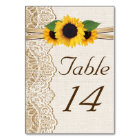 Lace and sunflowers burlap wedding table number