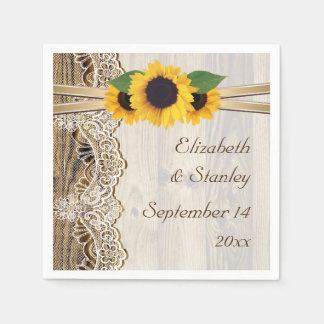Lace and sunflowers on wood wedding disposable serviette