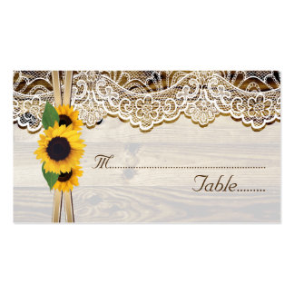 Lace and sunflowers on wood wedding place card pack of standard business cards