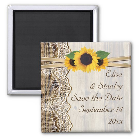 Lace and sunflowers wood wedding Save the Date