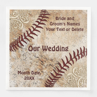 Lace and Vintage Baseball Napkins, Wedding Paper Napkins