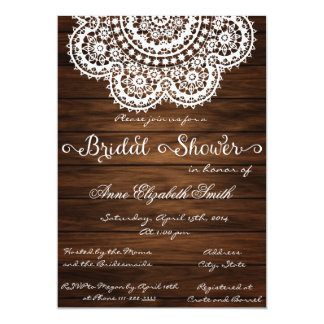 "Lace and wood Rustic Bridal Shower Invitation II 5"" X 7"" Invitation Card"