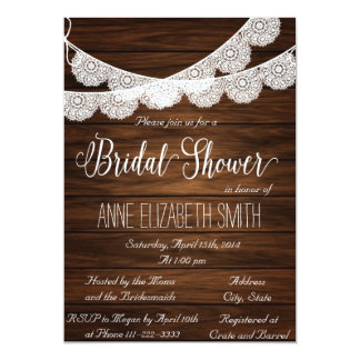 "Lace and wood Rustic Bridal Shower Invitation III 5"" X 7"" Invitation Card"
