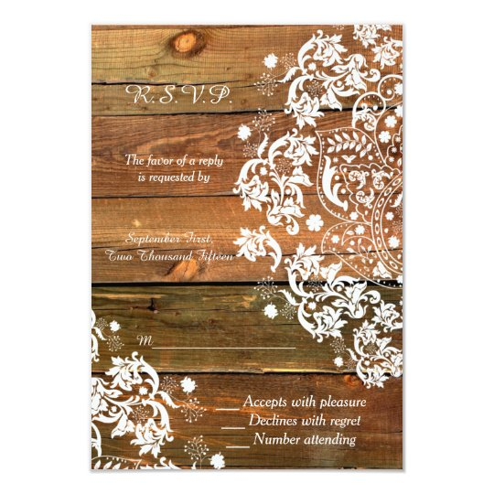 Lace and Wood Rustic Wedding RSVP Reply Card