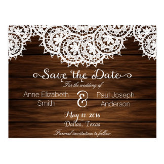 Lace and wood Save the Date Postcard