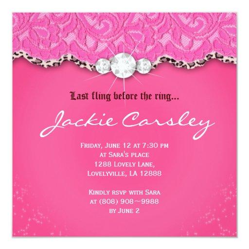 Lace Bachelorette Birthday Party Pink Leopard 13 Cm X 13 Cm Square Invitation Card