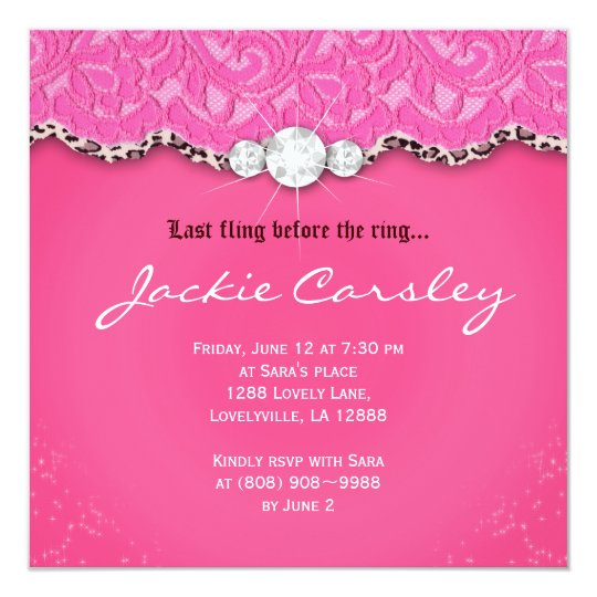 Lace Bachelorette Birthday Party Pink Leopard Card