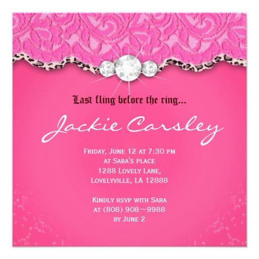 Lace Bachelorette Party Pink Leopard Personalized Invites