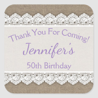 Lace Birthday Thank You Favor Tags Lavender Lilac Square Sticker
