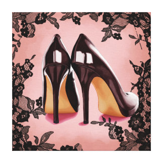 Lace black stiletto gallery wrapped canvas