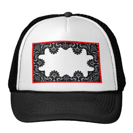 Lace Black & White Red Boarder The MUSEUM Zazzle G Hats
