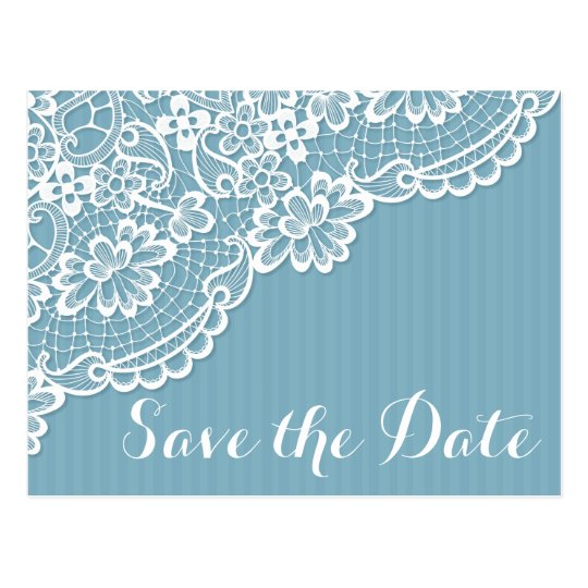 Lace Blue And White Save Te Date Stripes