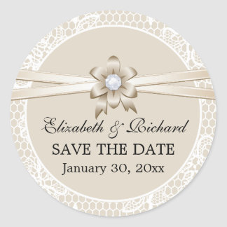 Lace border, beige ribbon wedding Save the Date Classic Round Sticker