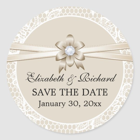 Lace border, beige ribbon wedding Save the Date
