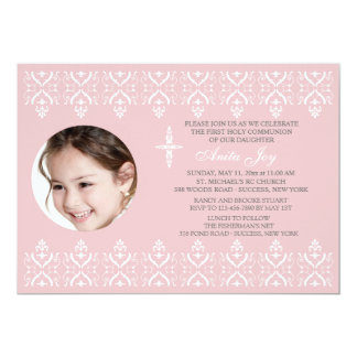 Lace Borders Pink Religious Photo Invitation
