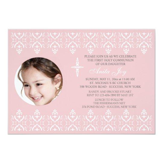 Lace Borders Pink Religious Photo Invitation