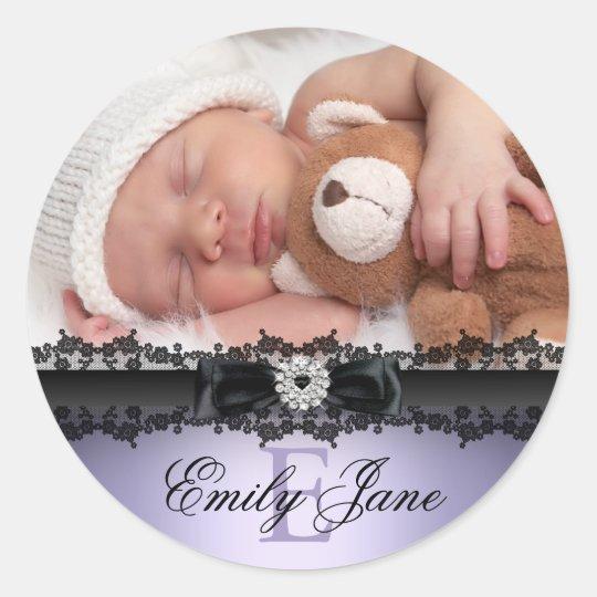 Lace & Bow Purple Photo Birth Announcement Sticker