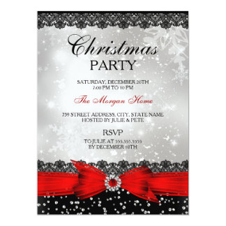 Lace & Bow Silver Red Christmas Holiday Invite