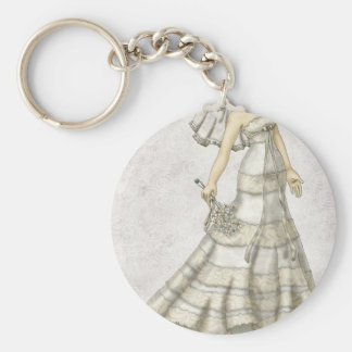 Lace Bride Basic Round Button Key Ring