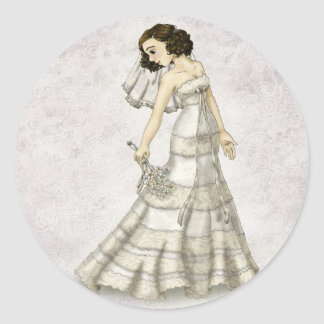 Lace Bride Round Stickers