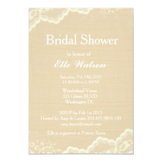 Lace Burlap Bridal Shower Invitations, Custom Card