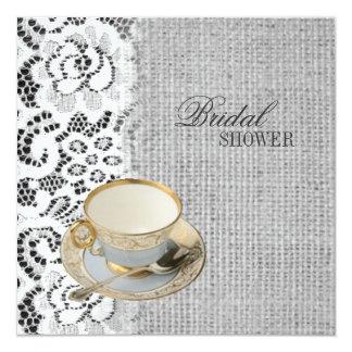 "lace burlap Bridal Shower Tea Party Invitation 5.25"" Square Invitation Card"