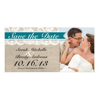 Lace & Burlap Look Save the Date -Turquoise Personalised Photo Card