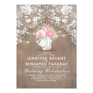 Lace Burlap Pink Peonies Mason Jar Rustic Wedding Card