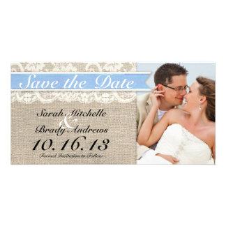 Lace & Burlap Vintage Save the Date - Capri Personalized Photo Card