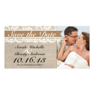 Lace Burlap Vintage Save the Date - Caramel Brow Photo Card Template