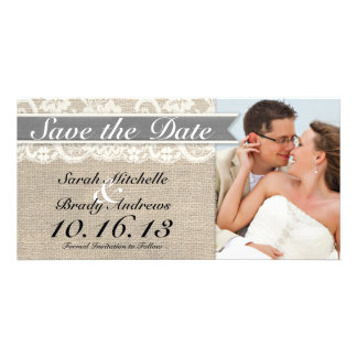 Lace Burlap Vintage Save the Date - Gray Customized Photo Card