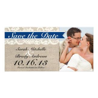 Lace & Burlap Vintage Save the Date - Royal Blue Card