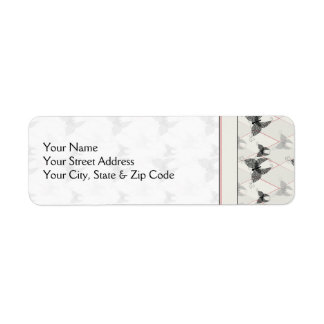 Lace Butterflies And Diamonds Pattern With Border Return Address Label