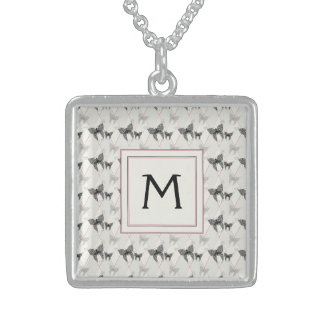 Lace Butterflies And Diamonds Pattern With Initial Sterling Silver Necklace